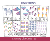 Unicorns Count and Clip Cards, Number 1 - 20, Flashcards, Preschool Printables