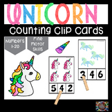 Unicorn Count and Clip Number Cards