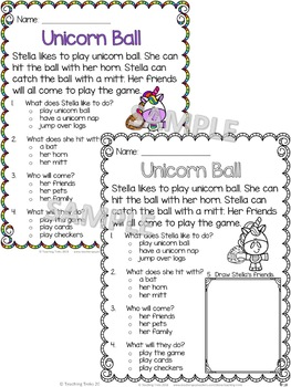 Unicorns FREEBIE: FREE Unicorns Reading Comprehension Passages and Questions