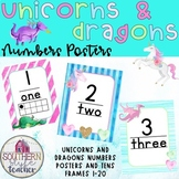 Unicorns and Dragons Classroom Decor Numbers and Tens Frames Posters