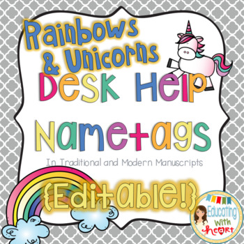 Editable Unicorns and Rainbows Desk Help Name tags