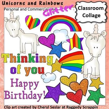 Unicorns and Rainbows Glitter Clip Art personal & commerci
