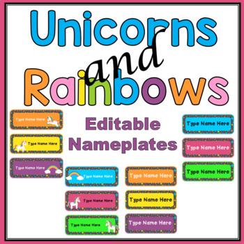 Unicorns and Rainbows name plates- EDITABLE Bright and Cheerful
