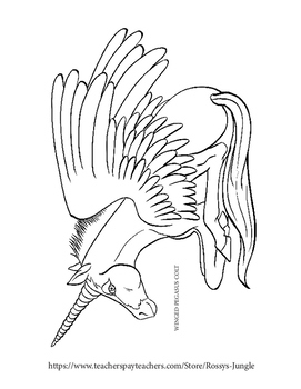 Unicorns and other Magical horses printable coloring pages