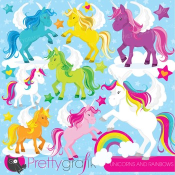 Unicorns and rainbows clipart commercial use, vector, digital - CL775