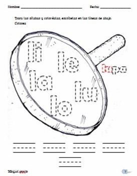 Silabas con letras l, m, p, s. Unit 1, Unidad1