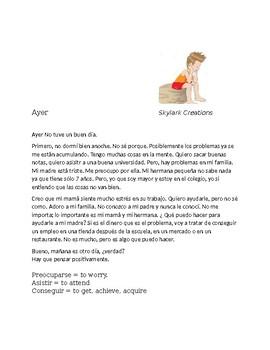 En Espanol 1 Unidad 4 etapa 2 Short story/reading comprehension
