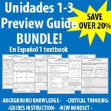 """Spanish 1 - """"En Espanol 1"""" Unidades 1-3 Preview Guide BUNDLE!"""