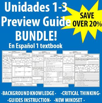 "Spanish 1 - ""En Espanol 1"" Unidades 1-3 Preview Guide BUNDLE!"