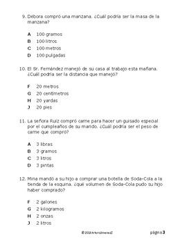 Unidades de medida - STAAR - Spanish