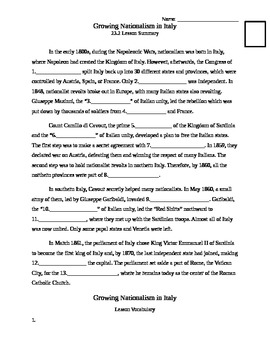 Unification of Italy - 23.2 Lesson - Nationalism