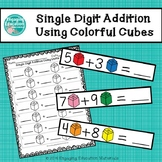 Single Digit Addition Using Colorful Cubes