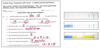 Unifix Cube Calculations:  Add & Subtract with Unifix Cubes on a Number Line