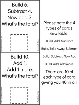 Unifix Cubes 3-STEP Addition and Subtraction Task Card Activity