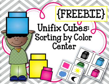 {FREEBIE} Linking Cubes. Sort by Color. Math Center. Interlocking counting block