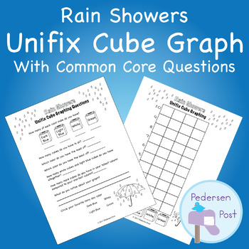 Unifix Graph with Common Core Questions - Rain Showers Theme