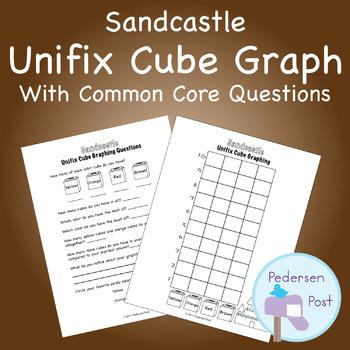 Unifix Graph with Common Core Questions - Sandcastle Theme
