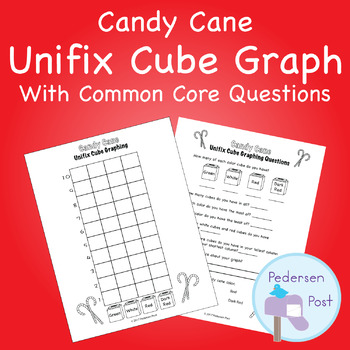 Unifix Graph with Common Core Questions - Candy Cane Theme