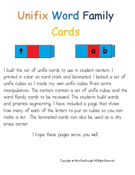 Unifix Word Family Cards