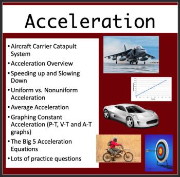 Uniform Acceleration - PowerPoint Lesson, Review Questions & Student Notes