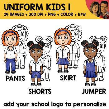 Uniform Kids Clipart Bundle