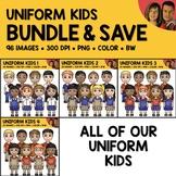 Uniform Kids Clipart Bundle
