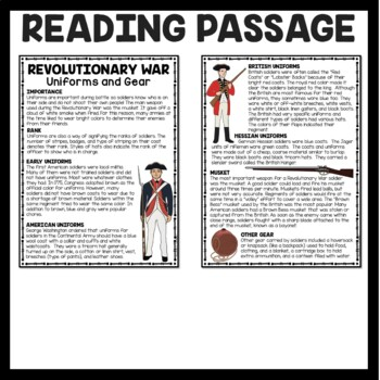 Uniforms & Gear of a Revolutionary Soldier Reading Comprehension
