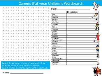 Uniforms Wordsearch Sheet Starter Activity Keywords Jobs & Careers