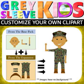 Military Clipart Uniforms, Veterans Day Clipart, Grey Sleeve Kids Expansion Pack
