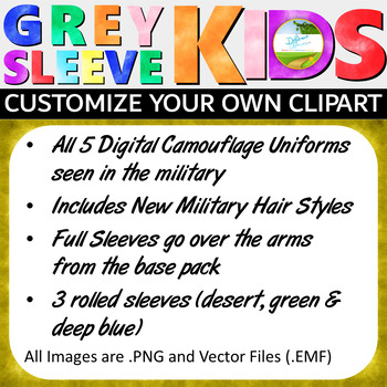 Military Clip Art, Veterans Day Clip Art, Grey Sleeve Kids Expansion Pack