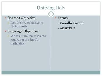 Unifying Italy