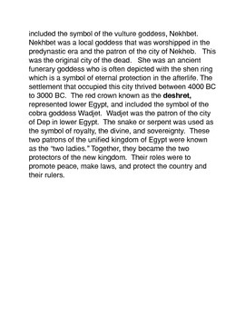 Unifying Upper and Lower Egypt Common Core Activities