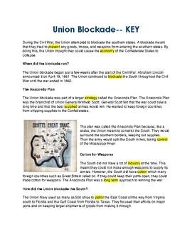 Union Blockade --  CLOZE Reading Passage