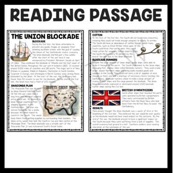 Union Blockade Reading Comprehension Worksheet, Civil War