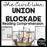 Union Blockade Reading Comprehension Worksheet, Civil War, Anaconda Plan