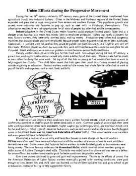 Union Efforts during the Progressive Movement