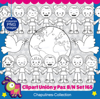 Union and Peace Clipart B/W, Unión y Paz B/N Set 165