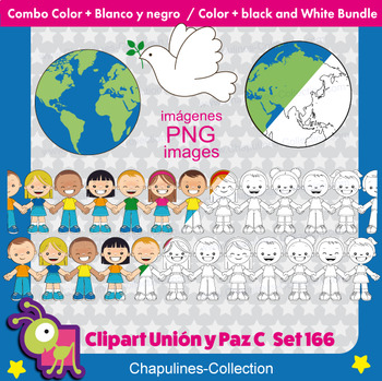 Union and Peace Clipart, Color & Black/White Bundle, United Nations day, Set 166