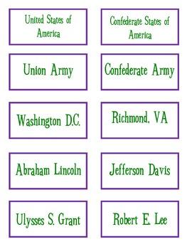 Union v. Confederacy Sort