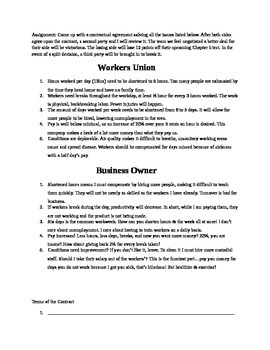 Union v Workers Negotiations Activity!