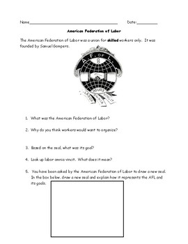 Unions:  Knights of Labor, AFL Worksheets, Graphic Organizer, Dialogue and Key