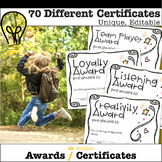 Unique Certificates & Awards for End of Year - 70 Different Editable Printables