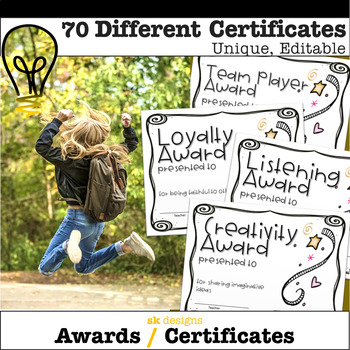 Unique Certificates & Awards for End of Year - 70 Differen