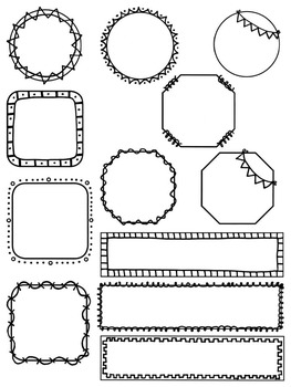 Unique Doodle Borders and Frames:  90 PNG's in Squares, Octagons, and More!