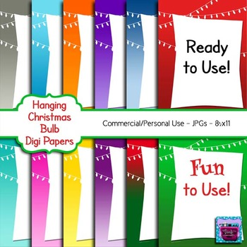 Christmas Light Bulb Digi Paper - Ready to Use