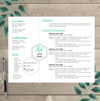 Teacher Resume Template EDITABLE Unique Landscape Format