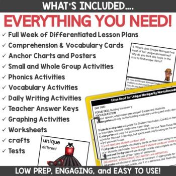 Interactive Read Aloud Lessons and Activities for Unique Monique
