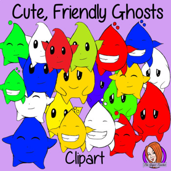 Unique New Cute Colored Ghost Characters Clipart