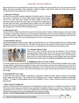 Unique New Year's Eve Traditions - Reading Comprehension Worksheet / Text
