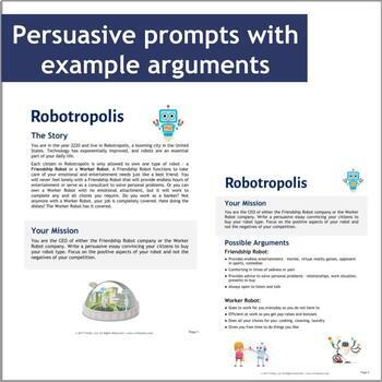 Unique Persuasive Writing Prompts: Robots, Aliens, Mars, and Deserted Islands!